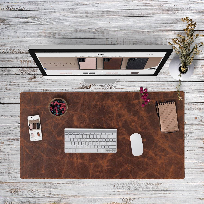 Hochwertige Schreibtischunterlage Leder für Bürotisch (Vintage Braun, 48cm x 90cm)