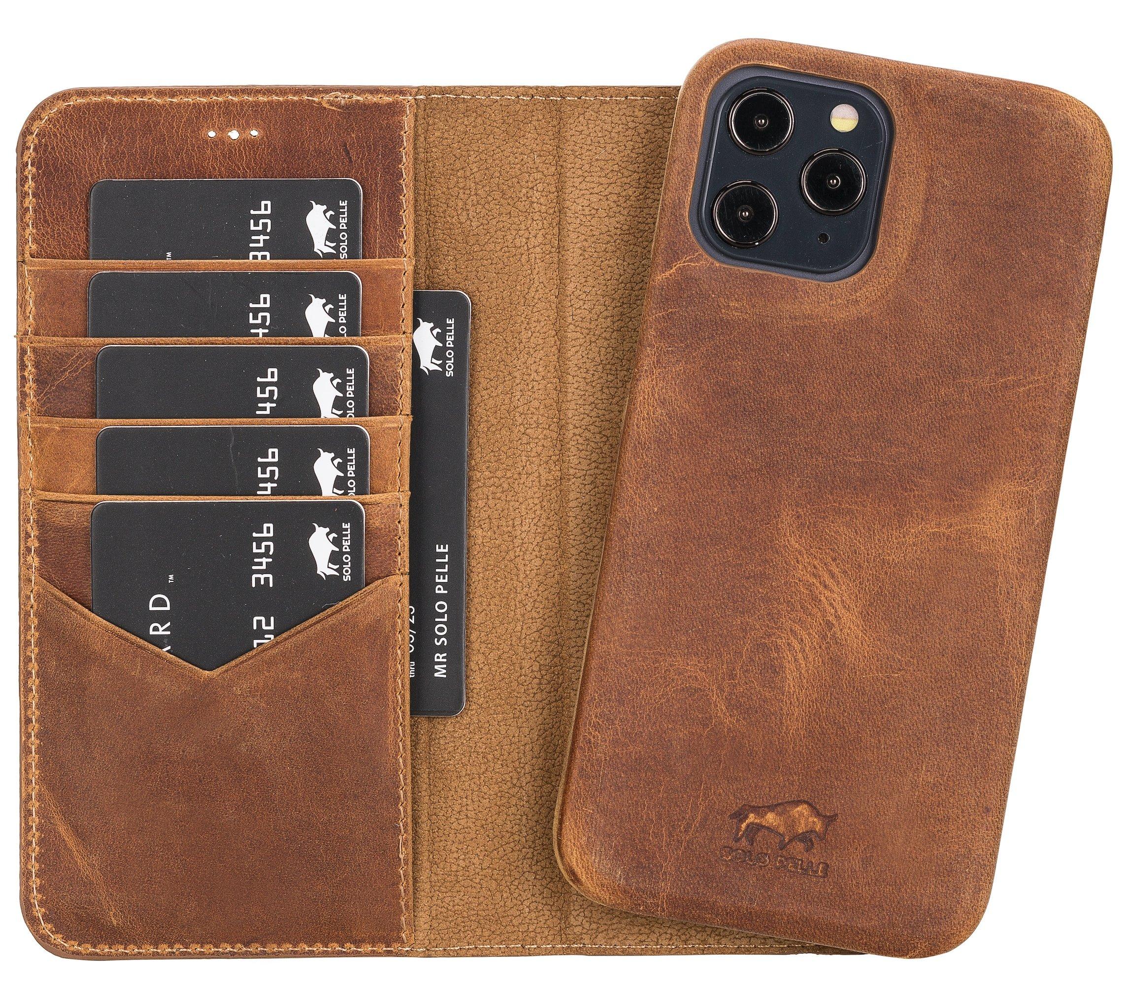 "iPhone 12 Pro Max abnehmbare Lederhülle ""Clemson"" MagSafe kompatibel (Vollleder Camel Braun)"