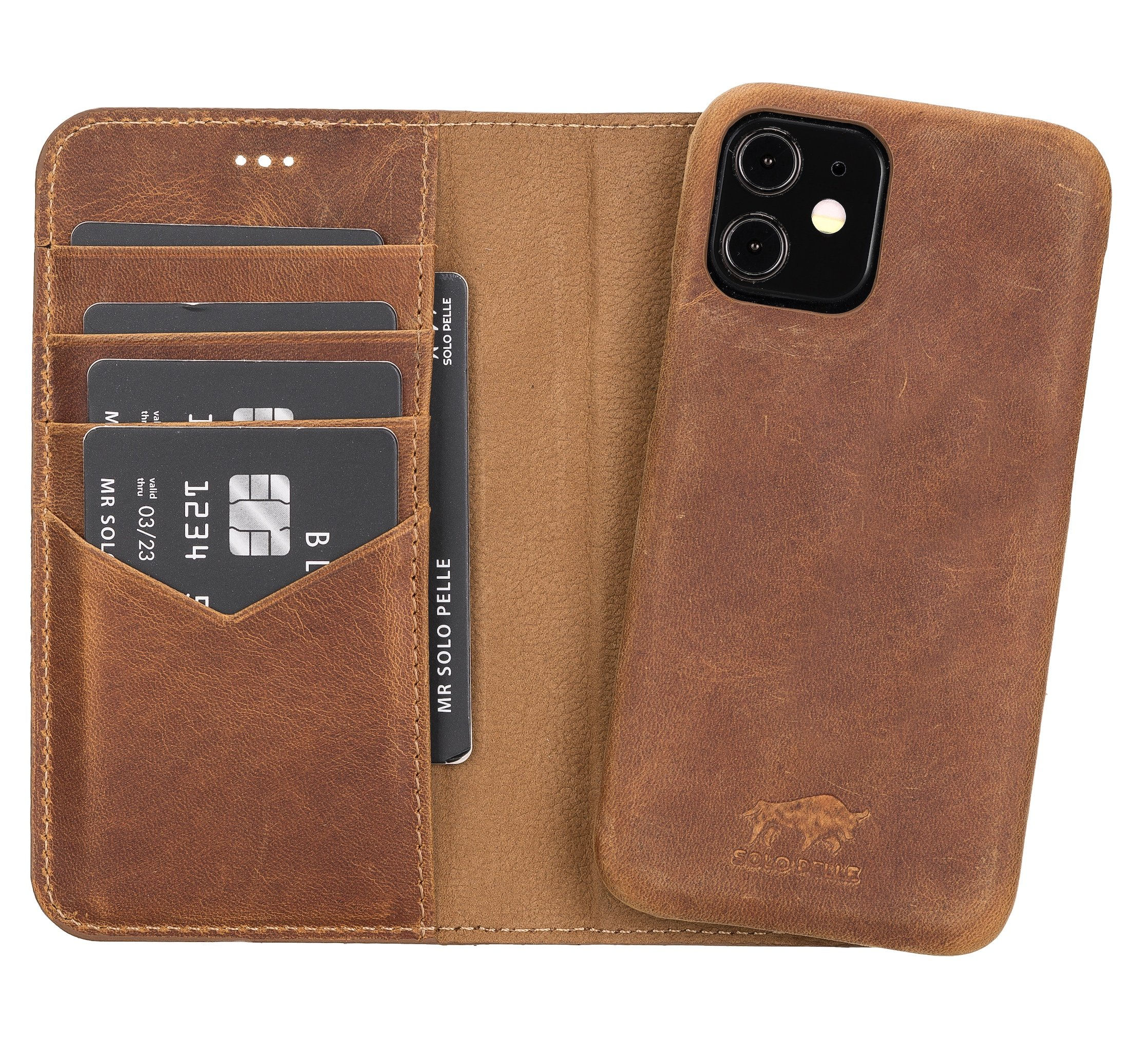 "iPhone 12 Mini abnehmbare Lederhülle ""Clemson"" MagSafe kompatibel (Vollleder Camel Braun)"