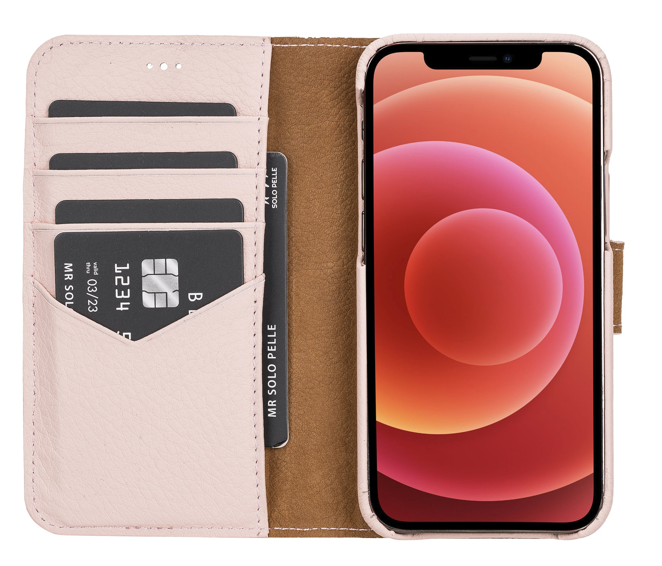 "iPhone 12 Mini abnehmbare Lederhülle ""Clemson"" MagSafe kompatibel (Vollleder Nude Rosa)"