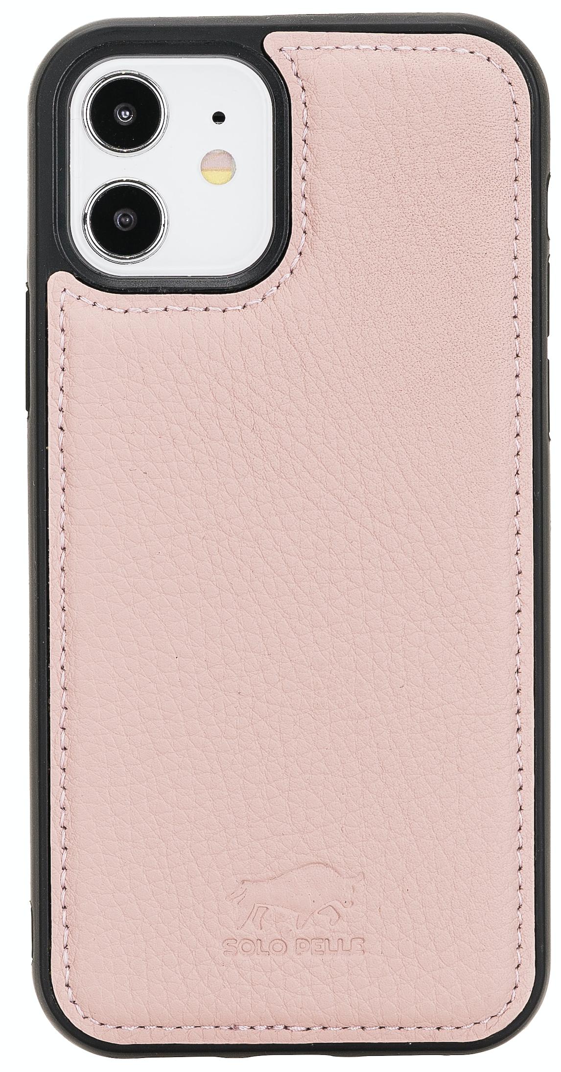 """iPhone 12 Mini Lederhülle """"Stanford"""" MagSafe kompatibel (Nude Rosa)"""
