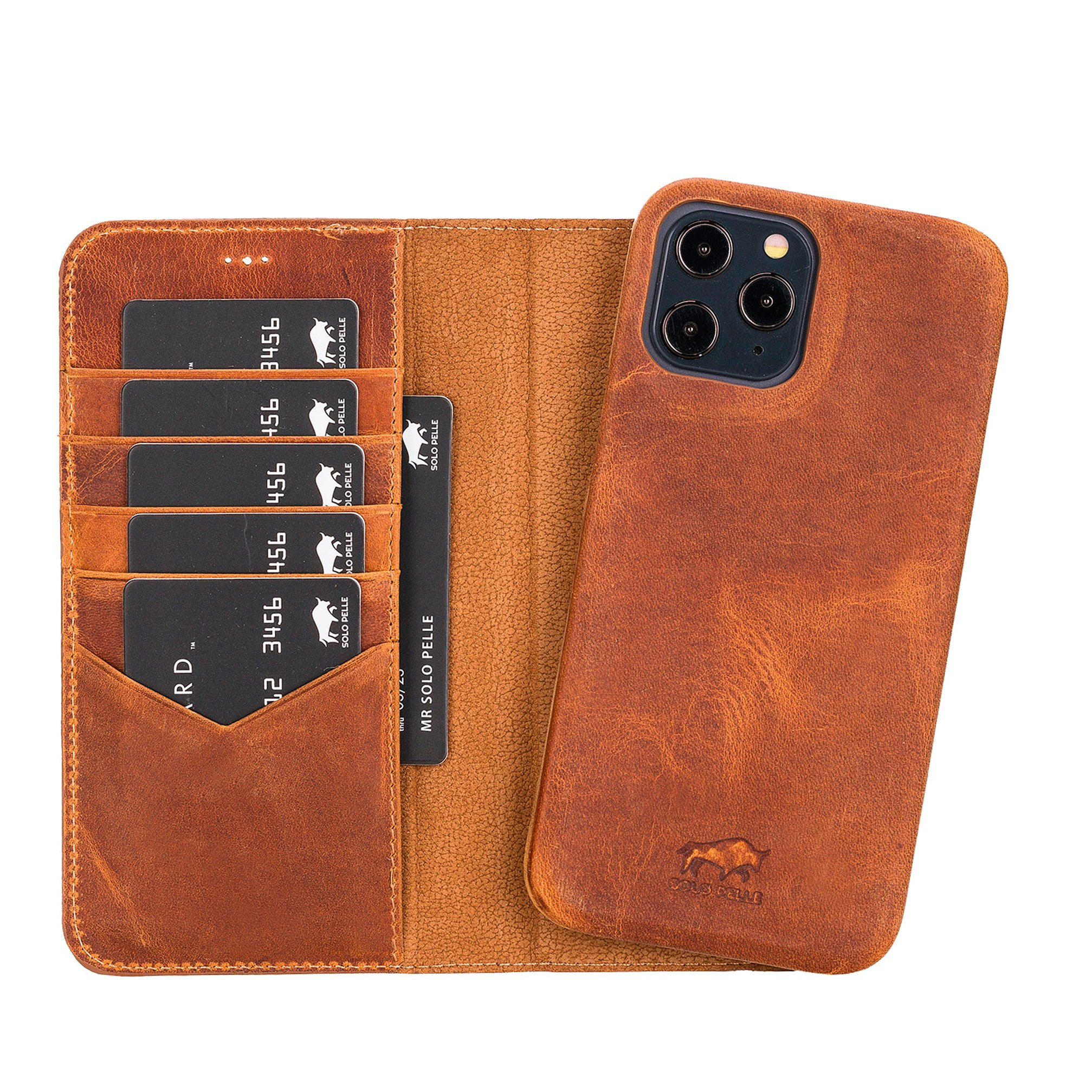 "iPhone 12 & 12 Pro abnehmbare Lederhülle ""Clemson"" MagSafe kompatibel (Vollleder Camel Braun)"