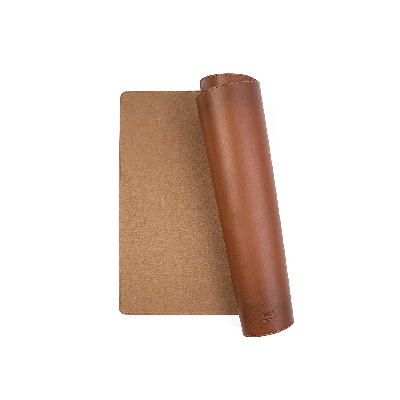 Hochwertige Schreibtischunterlage Leder für Bürotisch - handgefertigte Schreibunterlage aus Leder (Cognac Braun, 48cm x 90cm)