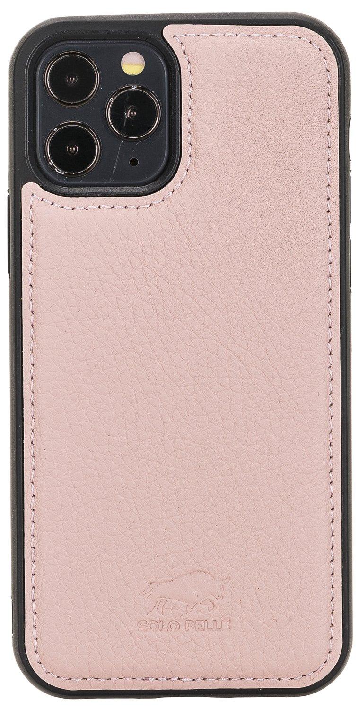 "iPhone 12 & 12 Pro abnehmbare Lederhülle ""Stanford"" MagSafe kompatibel (Nude Rosa)"