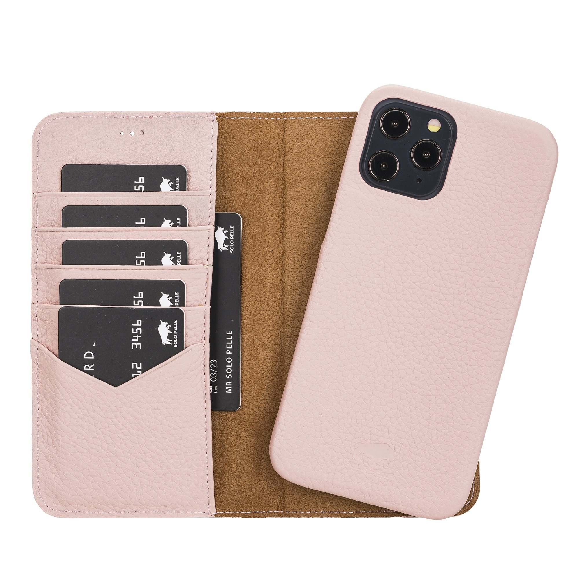 "iPhone 12 & 12 Pro abnehmbare Lederhülle ""Clemson"" MagSafe kompatibel (Vollleder Nude Rosa)"