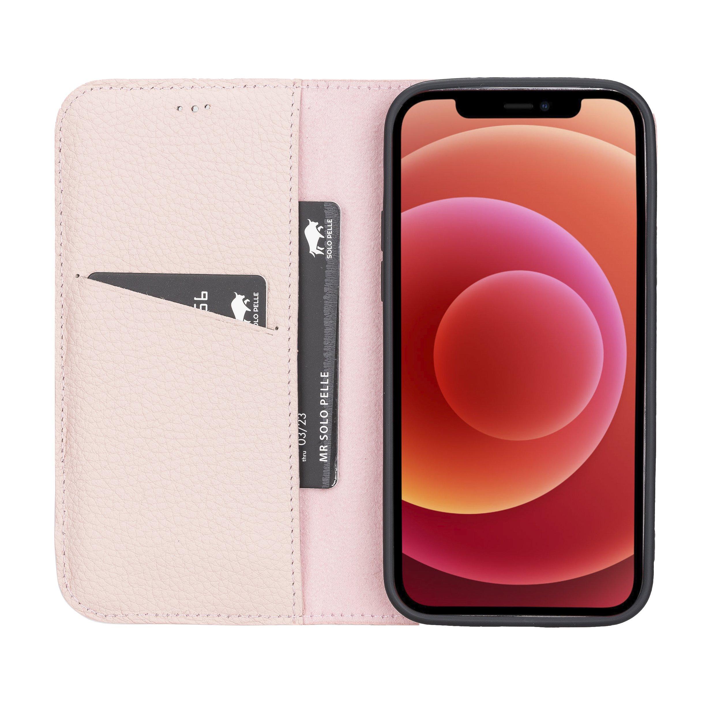 Lederhülle für iPhone 12 I 12 Pro (Nude Rosa)