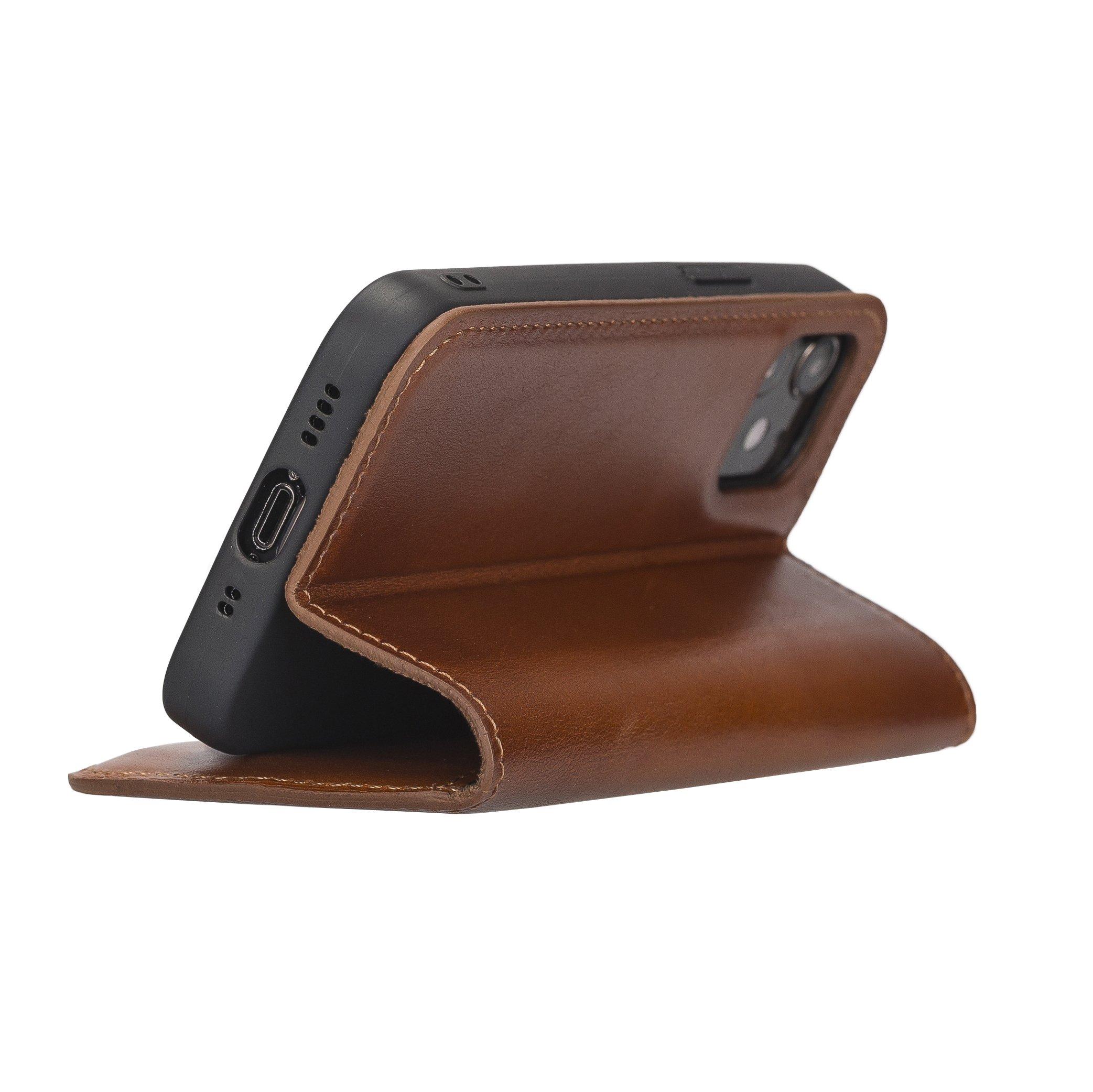 Lederhülle für iPhone 12 Mini (Cognac Braun Burned)