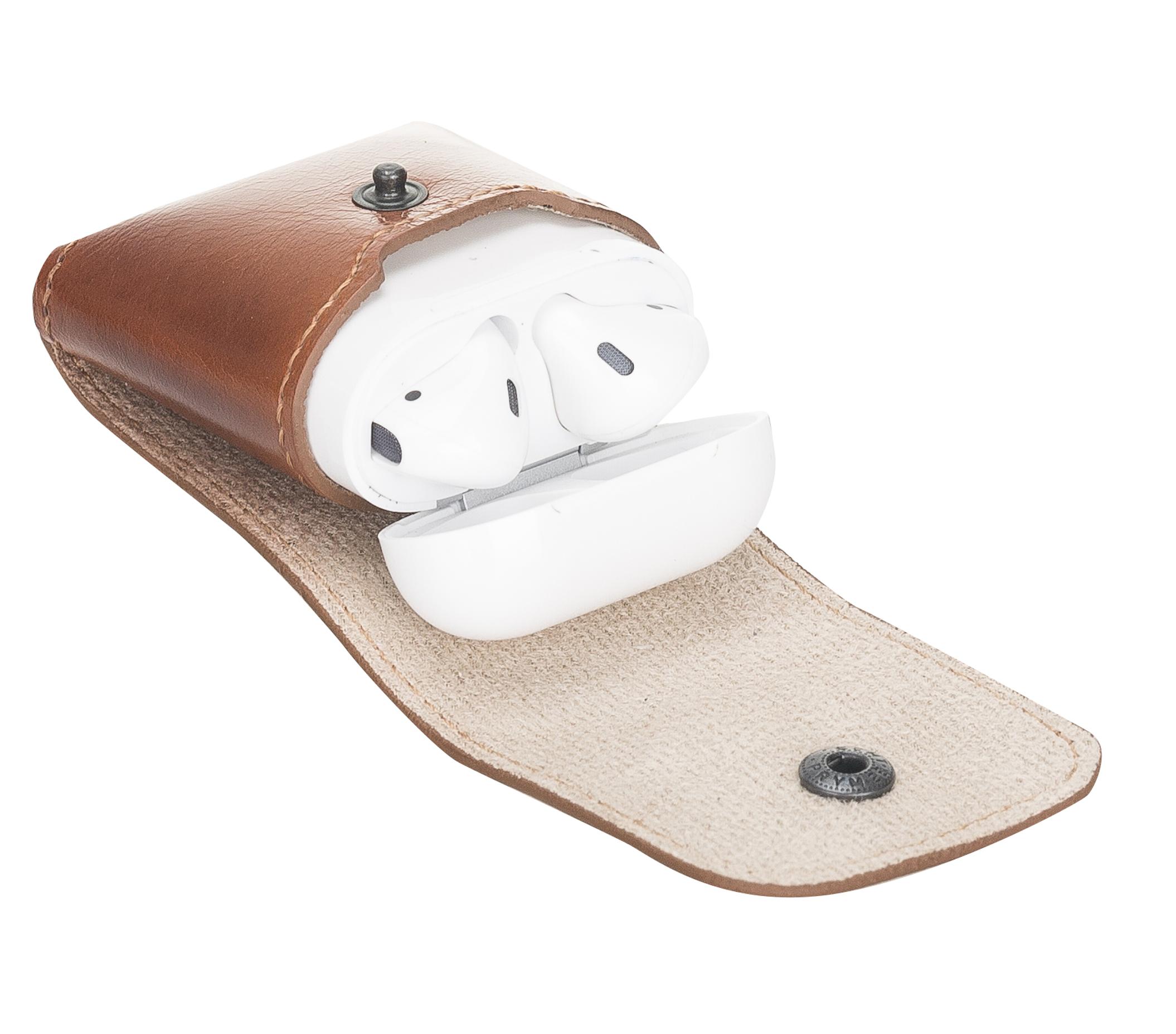 Lederhülle Noah für Apple Airpods 1 + 2 (Cognac Braun)