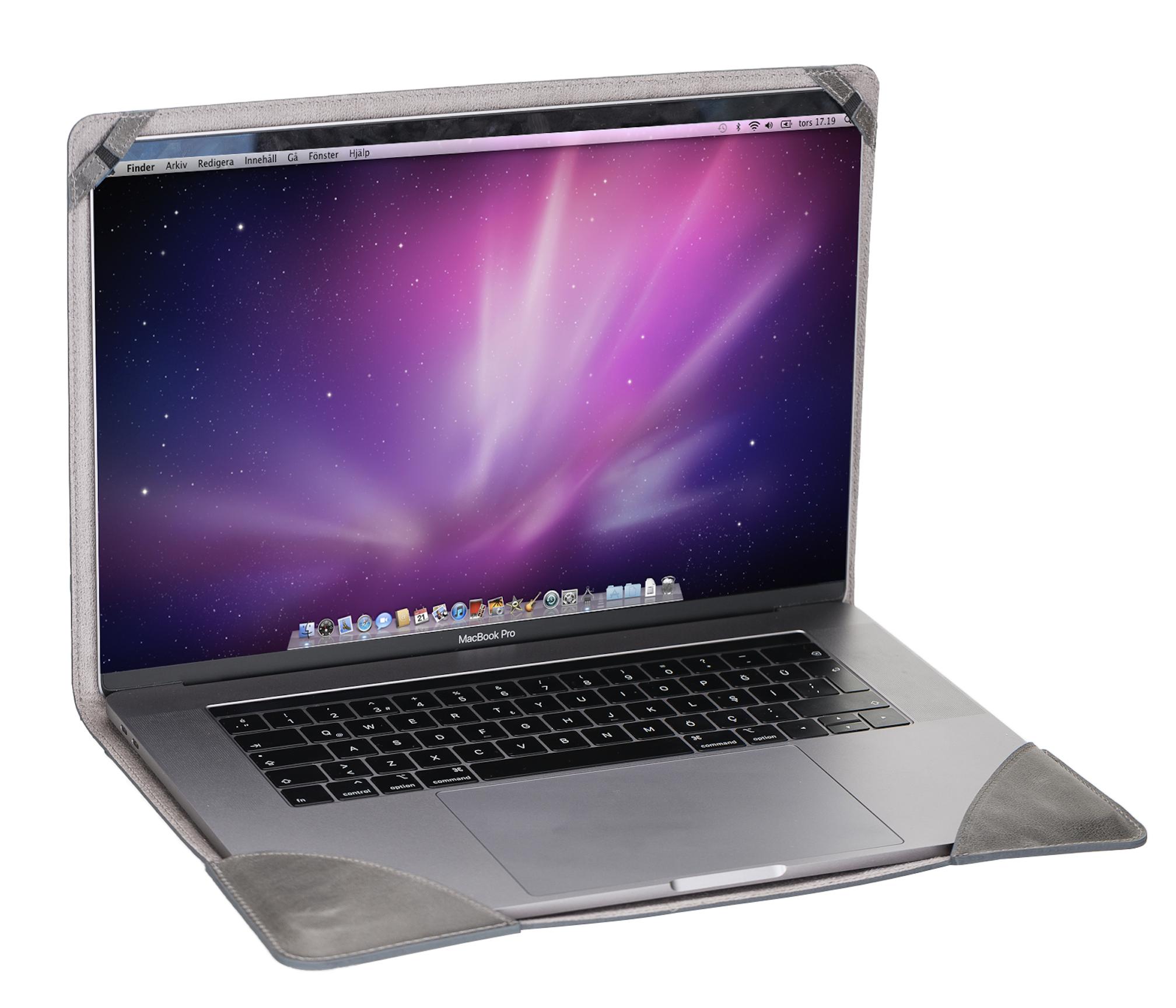 Ledertasche für das MacBook Pro 15+16 Zoll (Steingrau)