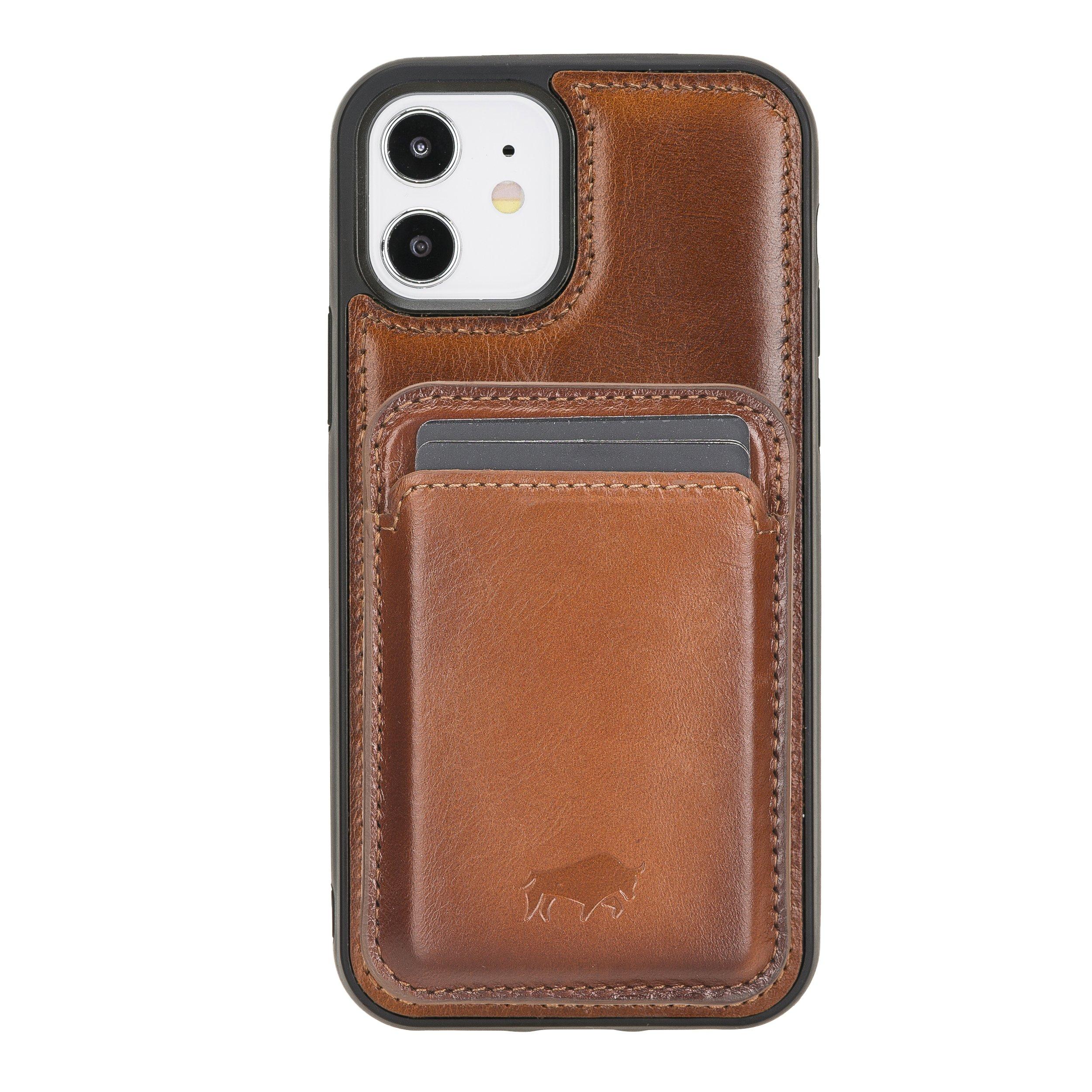 Solo Pelle Lederhülle + magnetische Geldbörse (Magsafe) für das iPhone 12 Pro Max in 6.7 Zoll Case Leder Hülle Ledertasche Backcover aus echtem Leder (Steingrau)