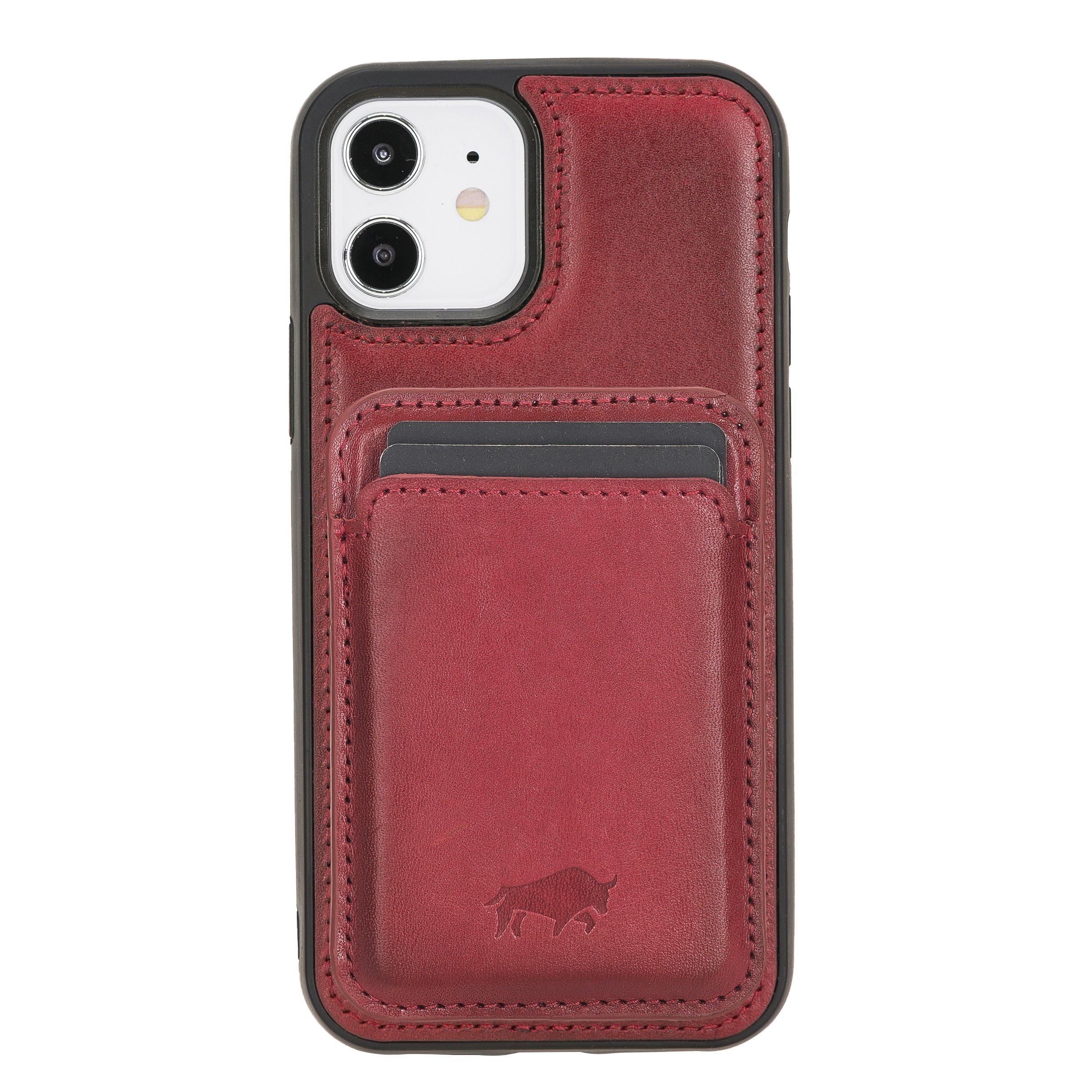 Solo Pelle Lederhülle + magnetische Geldbörse (Magsafe) für das iPhone 12 Mini in 5.4 Zoll Stanford Case Leder Hülle Ledertasche Backcover aus echtem Leder (Rot)