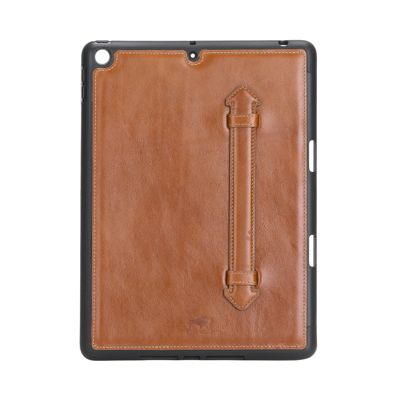 Solo Pelle Hülle geeignet für Apple iPad 10.2 (7 + 8 Generation) Echtleder Case aus echtem Leder. Unterstützt Pencil inkl. Ledergriff (Cognac Braun Burned)