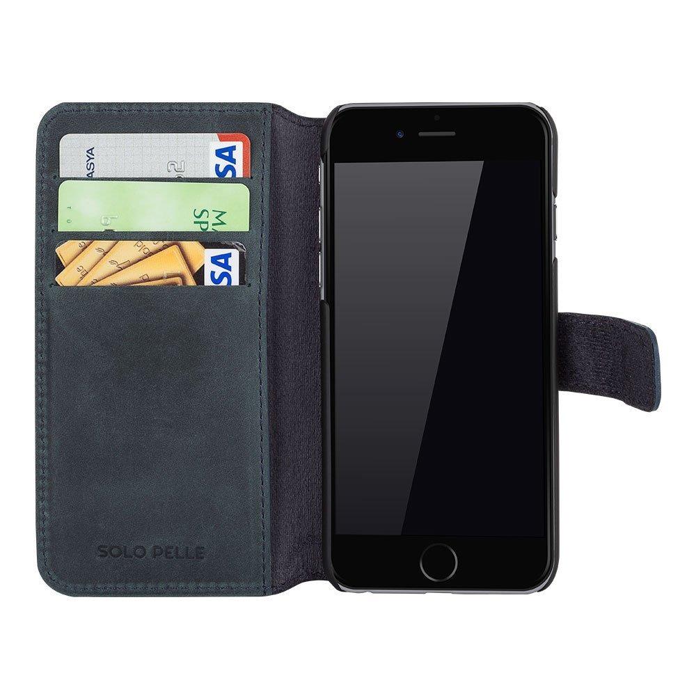 """iPhone 6 Plus / 6S Plus Hülle - """"Wallet"""" - Vintage Grau/Blau aus Leder"""