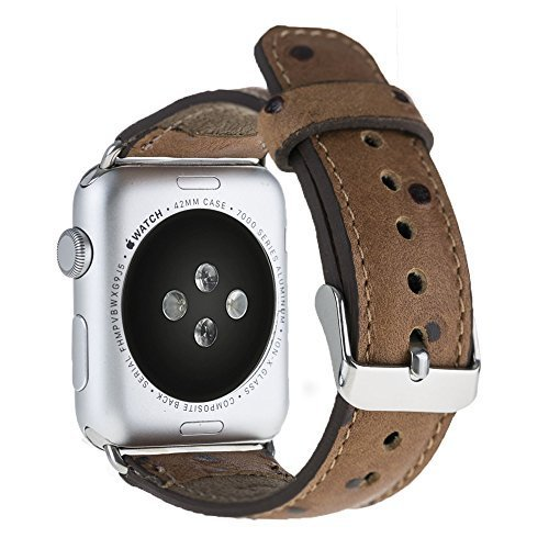 Apple Watch Lederarmband in 42mm / 44 mm Strauss Prägung in Cognac Braun / Silber Connector
