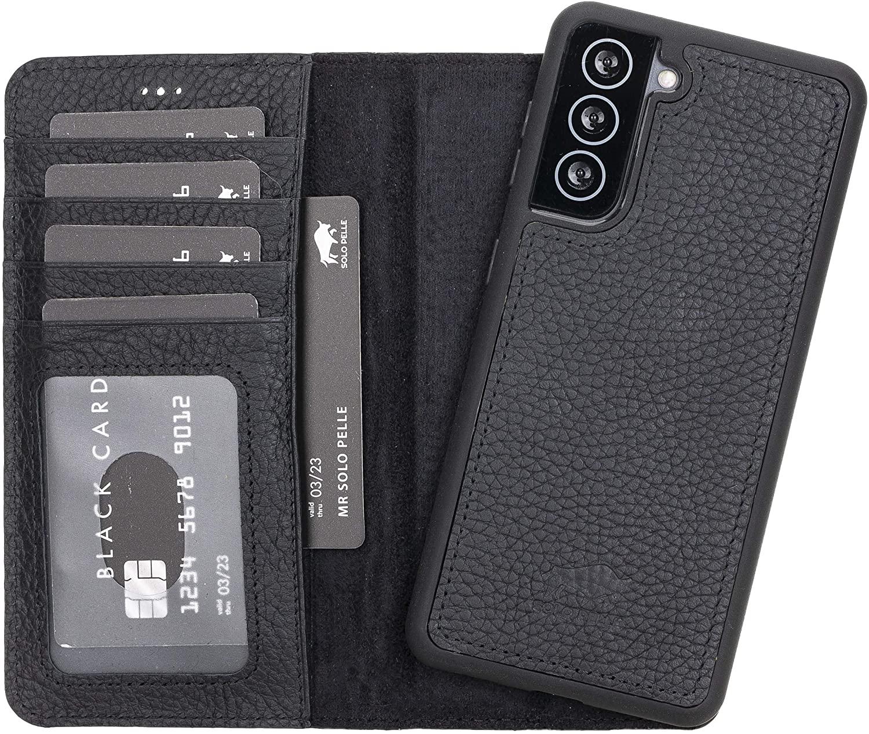 Solo Pelle Lederhülle Harvard kompatibel für das Samsung Galaxy S21 5G in 6.3 Zoll inklusive abnehmbare Hülle mit integrierten Kartenfächern (Schwarz Matt)