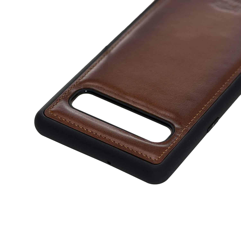 Solo Pelle Lederhülle für das Samsung Galaxy S10 5G Hülle, Schutzhülle aus echtem Leder, Model: Stanford (Cognac Braun)