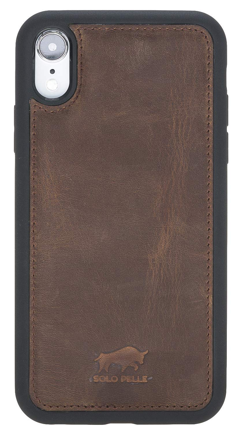 "iPhone XR iPhone ""Stanford"" Leder Hülle Tasche Lederhülle Ledertasche Backcover in Vintage Braun"