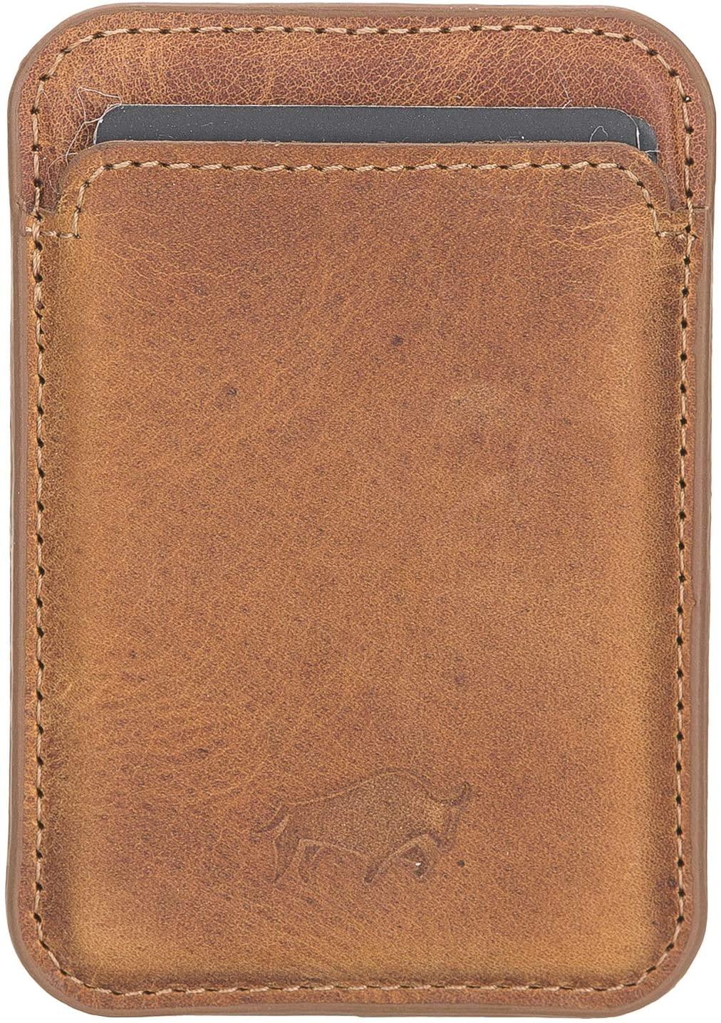 Magnetische Geldbörse (Magsafe) Für verschiedene Lederhüllen von Solo Pelle kompatibel kompatibe  (Camelbraun)
