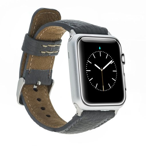 Apple Watch Lederarmband in 42mm / 44 mm Grau / Silber farbiger Connector