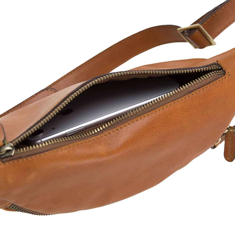 Solo Pelle Bauchtasche/Brusttasche aus echtem Leder Belt Beltbag (Cognac Braun)