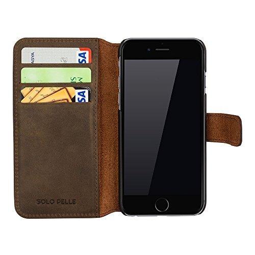 """iPhone 6 Plus / 6S Plus Hülle - """"Wallet"""" - Vintage Braun/Grün aus Leder"""