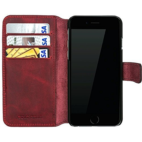 iphone 6 plus 6s plus h lle wallet vintage rot aus. Black Bedroom Furniture Sets. Home Design Ideas