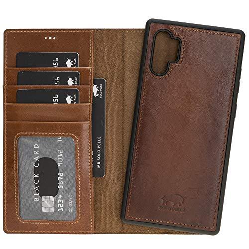 Solo Pelle Lederhülle Harvard kompatibel für das Samsung Galaxy Note 10 Plus/Note 10+ 5G inklusive abnehmbare Hülle mit integrierten Kartenfächern (Cognac Braun Burned)