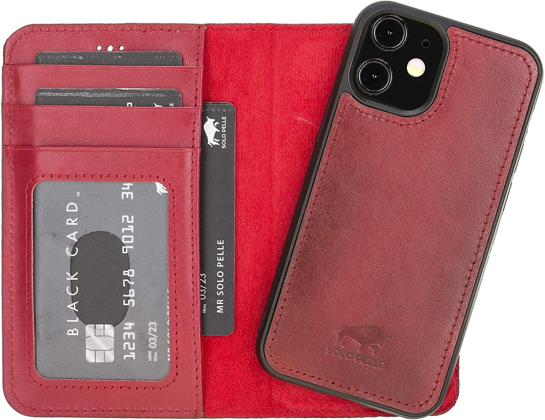 "iPhone 12 Mini abnehmbare Lederhülle ""Harvard"" MagSafe kompatibel (Rot Effekt)"