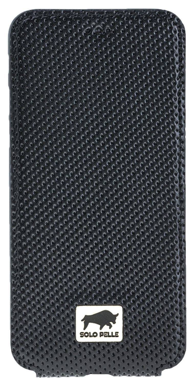 iphone 8 7 h lle slim flip schwarz aus gelochtem leder. Black Bedroom Furniture Sets. Home Design Ideas