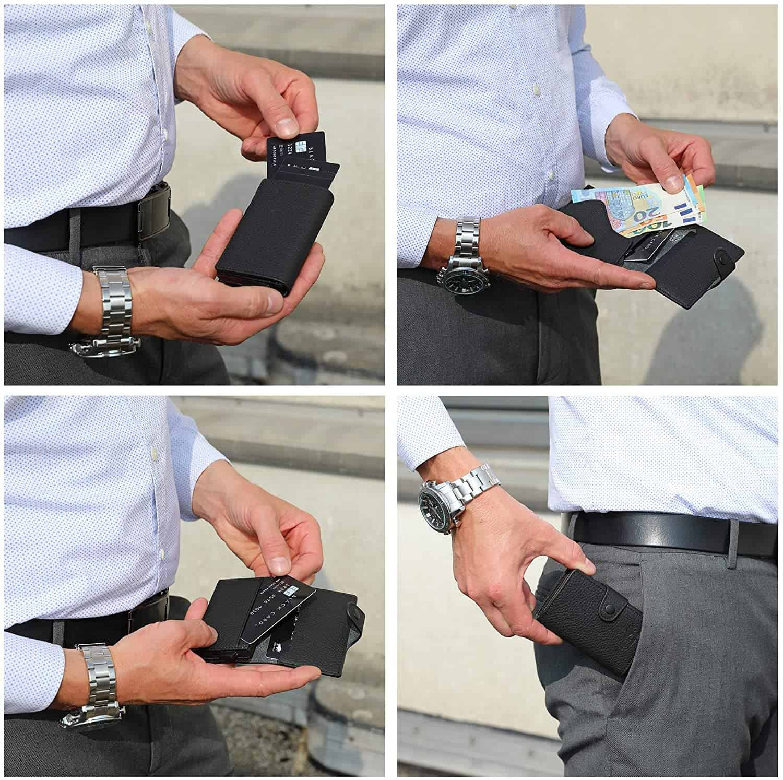"""Slim Wallet """"Mondo"""" ohne Münzfach [bis zu 13 Karten] + [RFID-Schutz] in (Matt Schwarz)"""