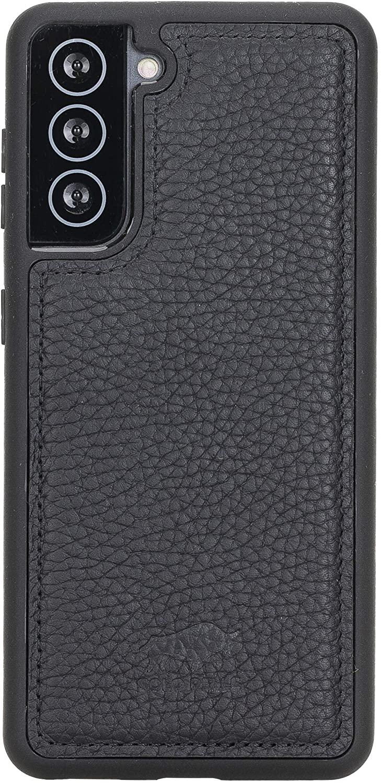 Solo Pelle Lederhülle für das Samsung Galaxy S21 5G in 6.3 Zoll Hülle aus echtem Leder, Model: Stanford (Matt Schwarz)