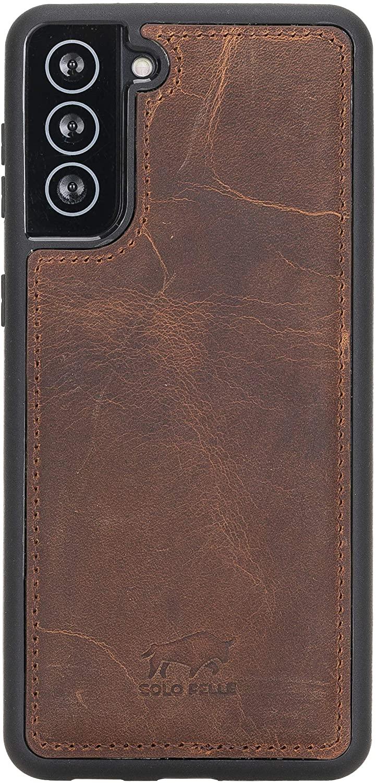 Solo Pelle Lederhülle für das Samsung Galaxy S21 + Plus 5G in 6.8 Zoll Hülle aus echtem Leder, Model: Stanford (Vintage Braun)