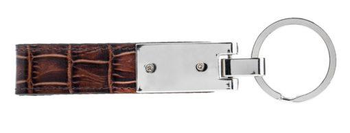 Schlüsselanhänger in Krokoprägung Braun