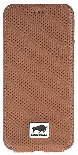 iPhone SE 2020 und  8/7 Hülle - Slim Book - Braun aus gelochtem Leder