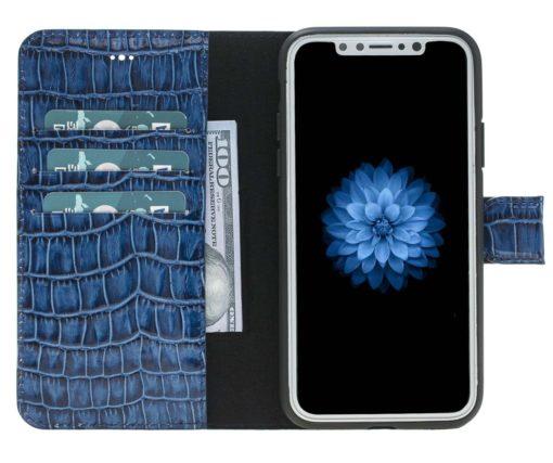 "iPhone X / XS Hülle - Abnehmbar ""Harvard"" - Krokoprägung Blau aus Leder"
