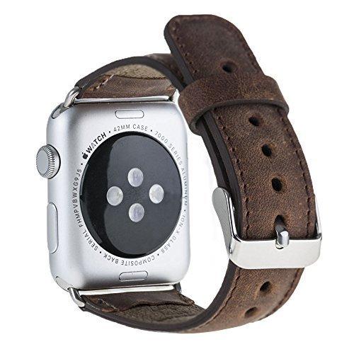 Armband aus echtem Leder für die Apple Watch Series 1 - 4 Leder Lederarmband in Überlänge 42mm / 44 mm  Vintage Braun / Silber farbiger Connector