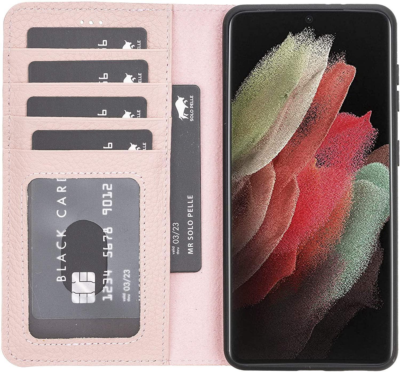 Solo Pelle Lederhülle Harvard kompatibel für das Samsung Galaxy S21 5G in 6.3 Zoll inklusive abnehmbare Hülle mit integrierten Kartenfächern (Nude Rosa)