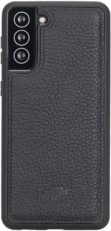 Solo Pelle Lederhülle für das Samsung Galaxy S21 + Plus 5G in 6.8 Zoll Hülle aus echtem Leder, Model: Stanford (Matt Schwarz)
