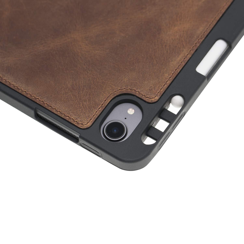 """Solo Pelle abnehmbare Lederhülle Harvard geeignet für Apple iPad Pro 12.9"""" 2018 Hülle Cover Schwarz aus echtem Leder mit Stifthalter. Pencil 2 magnetisch Laden möglich. Dünnes Echtleder Case Schutzhülle Tasche (Vintage Braun)"""