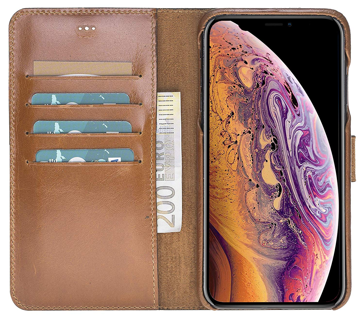 "iPhone XS Max Abnehmbare Lederhülle ""Clemson"" in Cognac Braun Burned"