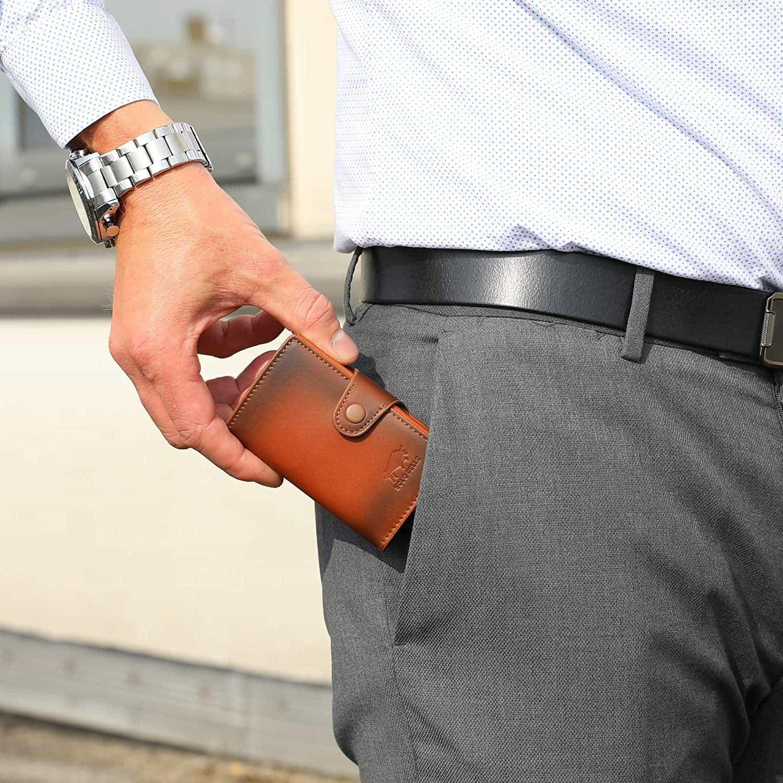"""Slim Wallet """"Mondo"""" ohne Münzfach [bis zu 13 Karten] + [RFID-Schutz] in (Cognac Braun)"""
