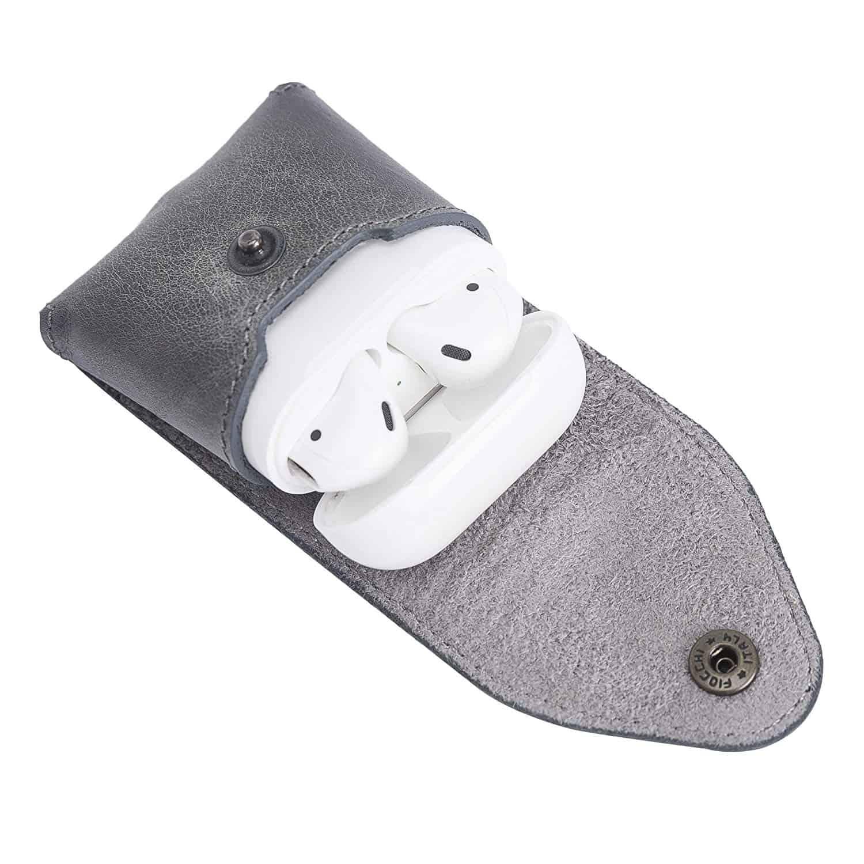 Solo Pelle Lederhülle Noah Hülle passend zu original Apple Airpods 1 und 2 (Wireless Charging geeignet) (Steingrau)