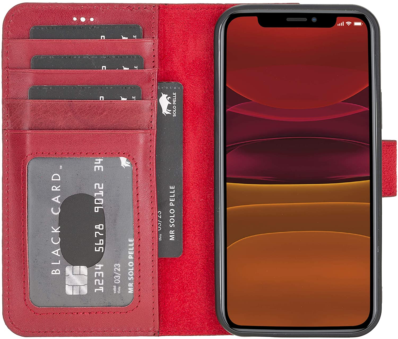 "iPhone 12 | 12 Pro abnehmbare Lederhülle ""Harvard"" MagSafe kompatibel (Rot Burned)"