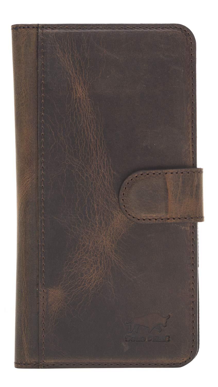 iPhone XS Max abnehmbare Lederhülle (Double 2in1) in Vintage Braun Leder Hülle Tasche Lederhülle Ledertasche