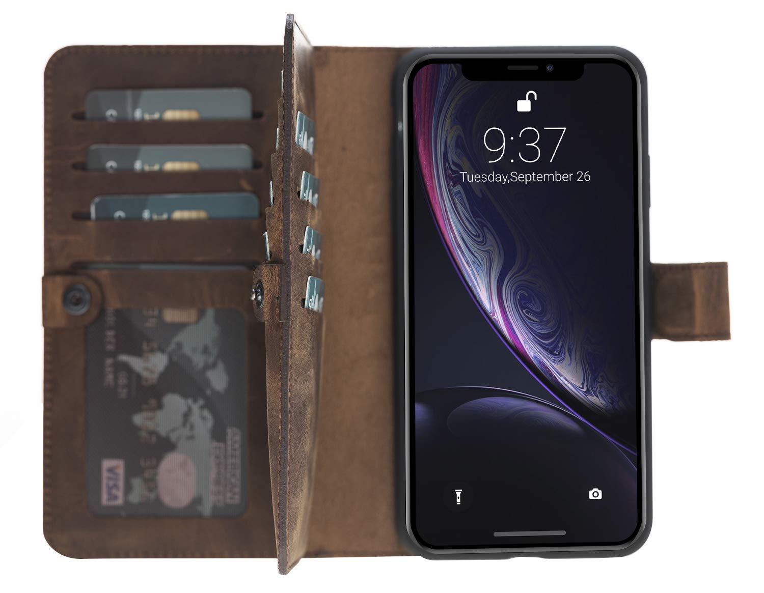 iPhone XS Max abnehmbare Lederhülle (Double 2in1) in Vintage Braun
