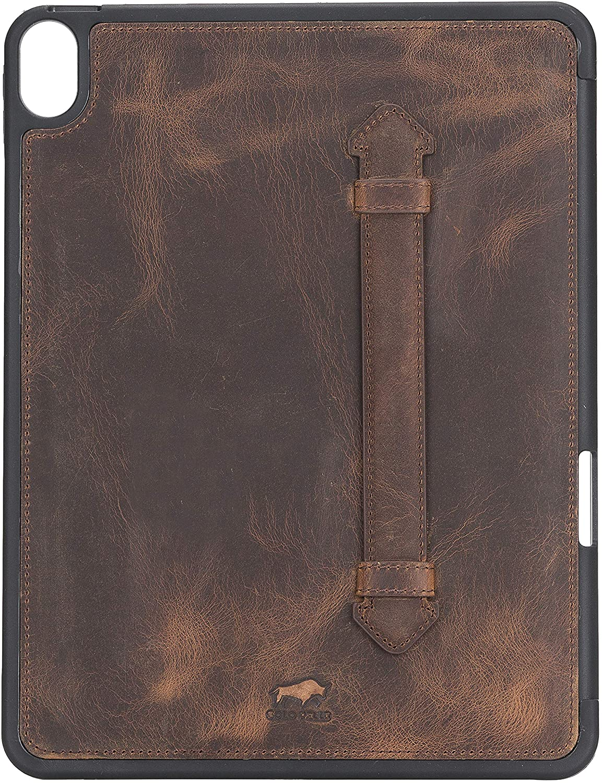 Solo Pelle Hülle geeignet für Apple iPad Air 5 in 10.9 (4 + 5 Generation) Echtleder Case aus echtem Leder. Unterstützt Pencil inkl. Ledergriff (Vintage Braun)