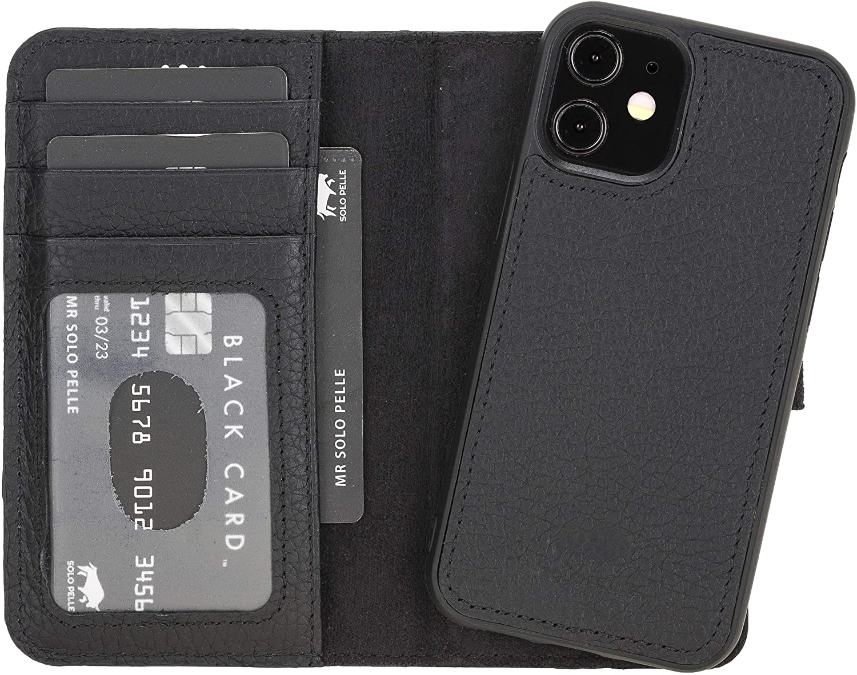 "iPhone 12 Mini abnehmbare Lederhülle ""Harvard"" MagSafe kompatibel (Matt Schwarz)"