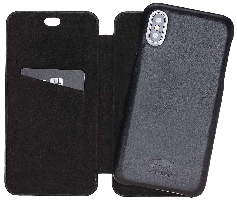 Solo Pelle kompatibel für iPhone XS Max 6.5 Zoll abnehmbare Lederhülle (2in1) inkl. Kartenfächer für das original Apple iPhone XS Max (F360 Elite Schwarz)