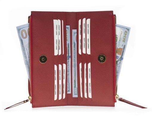 Leder Geldbörse Saff Palermo XL in Rot