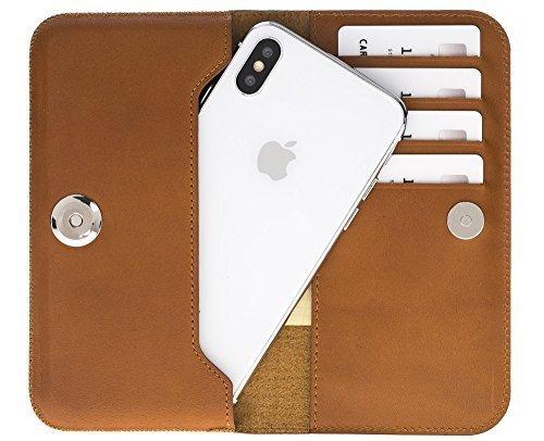 Universal Lederhülle passend für das iPhone x/xs und Geräte ähnlicher Grösse aus echtem Leder in Cognac Braun